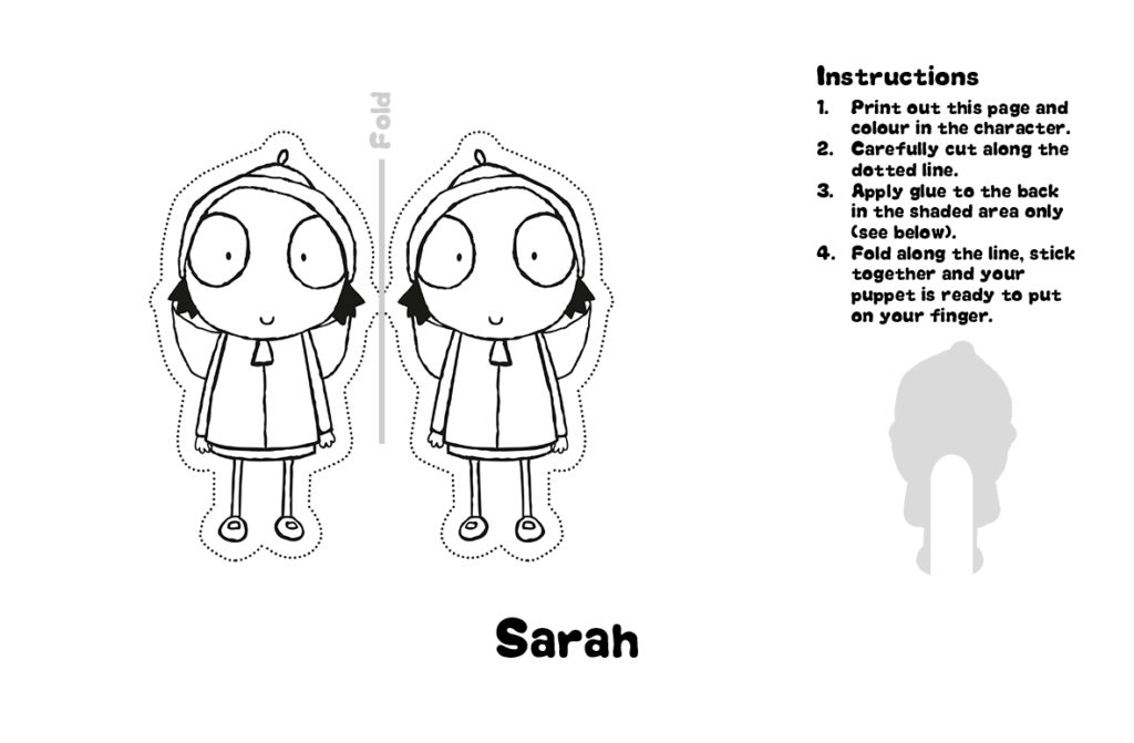 Sarah and Duck Finger Puppet Printable and Instructions