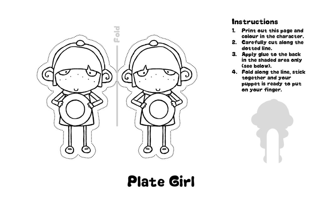Sarah and Duck Plate Girl Finger Puppet Template
