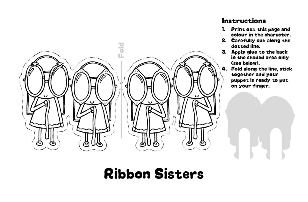 Sarah and Duck Ribbon Sisters Finger Puppet Template