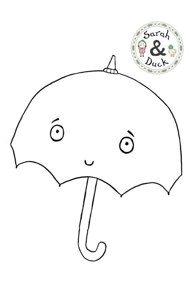 Sarah and Duck Umbrella Colouring Sheet